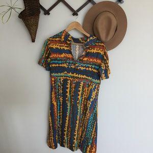 Vintage 70s zip up mini dress